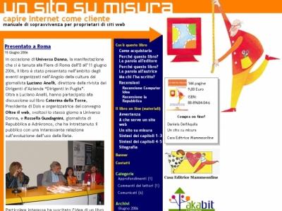 Un sito su misura: screenshot della prima versione del sito